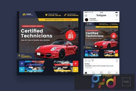 Car Repair Services Square Flyer & Instagram Post BW2DR6C 1