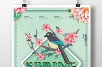 Green fresh cartoon spring poster 1620405 4