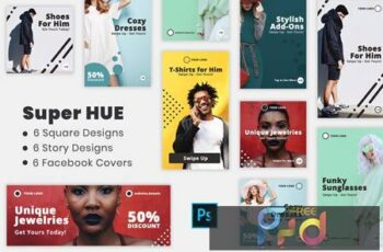 Super Hues - Social Media Kit & Facebook Covers 9G9R6E9 7
