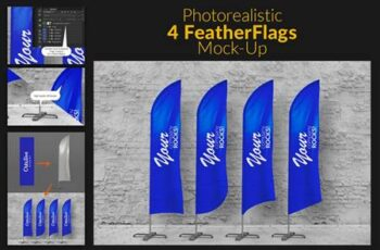 Feather Flags Bow Flags MockUp 489164 2