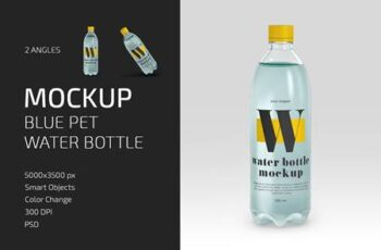 Blue PET Water Bottle Mockup Set 5142232 6