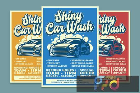 Shiny Car Wash Service Flyer Template ZM7FD2N 1