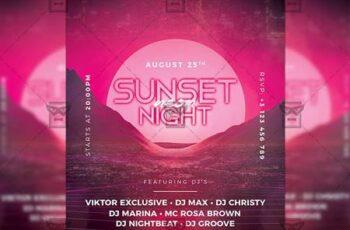 Sunset Night Flyer - Seasonal A5 Template 19940 4