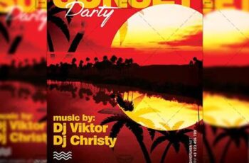 Sunset Party Flyer - Seasonal A5 Template 19944 7