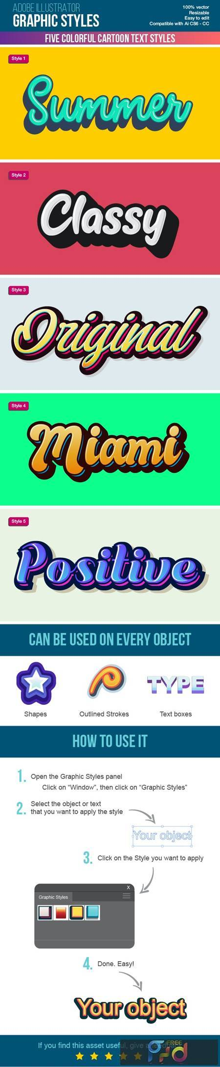 Five Colorful Calligraphy Illustrator Graphic Styles 27085390 1