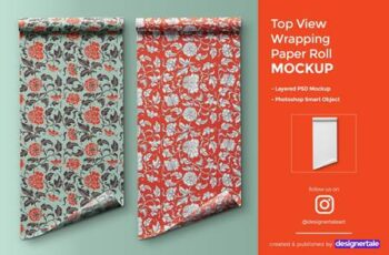 Top View Wrapping Paper Roll Mockup 4476026 2