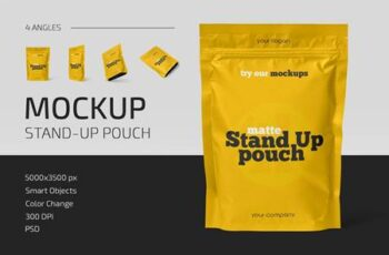 Matte Stand-Up Pouch Mockup Set 5158450 2