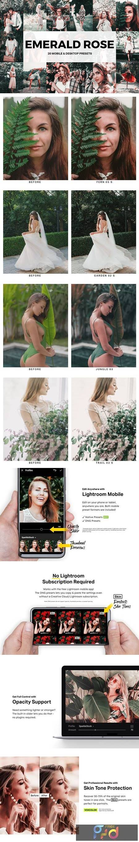 20 Emerald Rose Lightroom Presets and LUTs 5156398 1