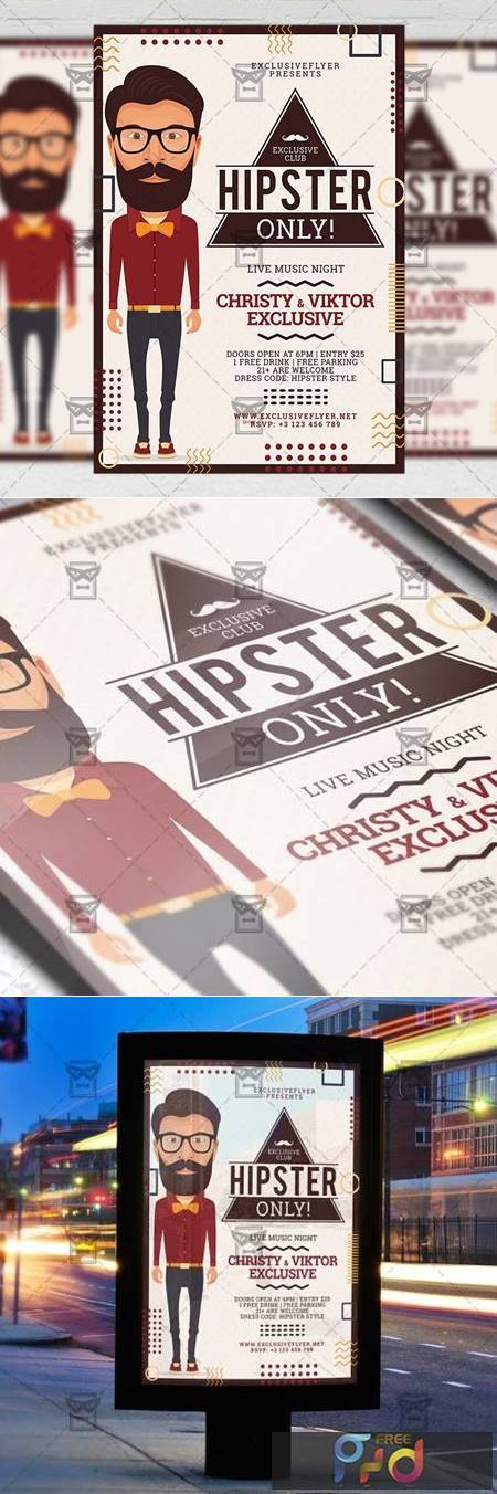 Hipster Only Flyer - Club A5 Template 20115 1
