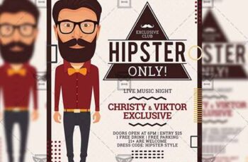 Hipster Only Flyer - Club A5 Template 20115 2