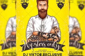 Hipster Only Party Flyer - Club A5 Template 20111 3