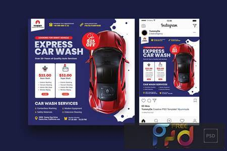 Car Repair Services Square Flyer & Instagram Post 4HEUH43 1