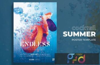 Summer Cocktail Poster Template QVQD783 5
