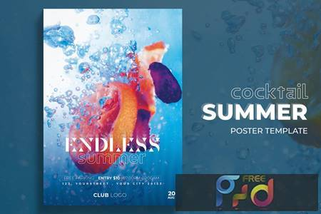 Summer Cocktail Poster Template QVQD783 1