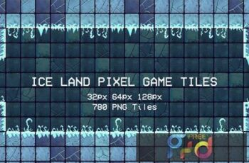 Ice Land Pixel Game Tiles X32WZ7S 3