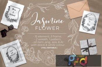 Jasmine Flower - Line art DJ97J5S 7