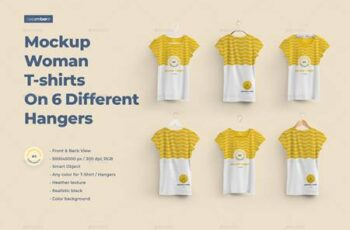 2 Mockups Woman T-shirts On 6 Different Hangers 27659659 4