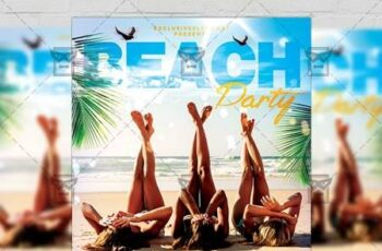 Beach Party Flyer - Seasonal A5 Template 19836 5