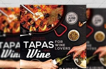 Tapas and Wine Flyer – Food A5 Template 19721 4