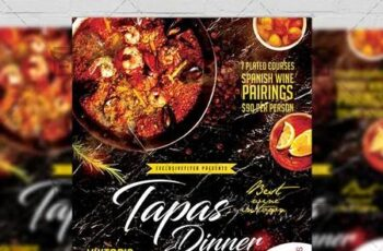 Tapas Dinner Flyer - Food A5 Template 19716 4