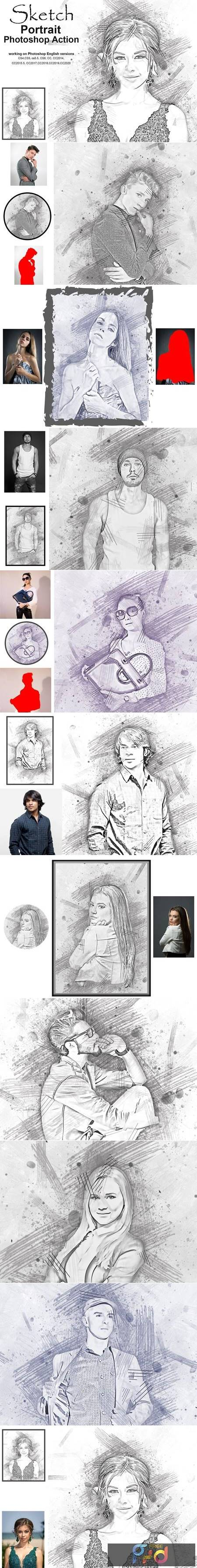 Sketch Portrait Photoshop Action 5203548 1