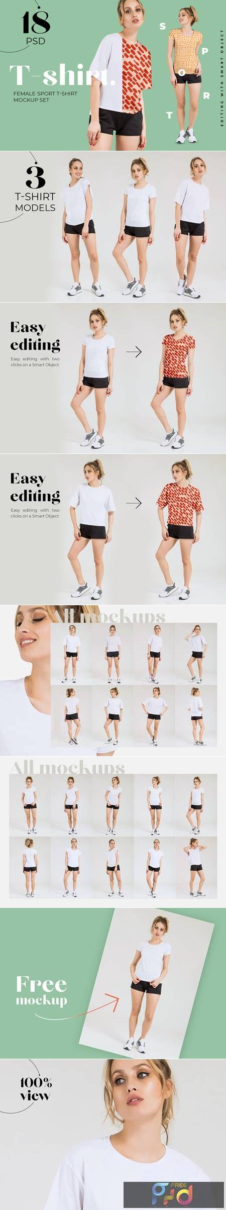 Female Sport T-shirt Mockups Set 4809123 1