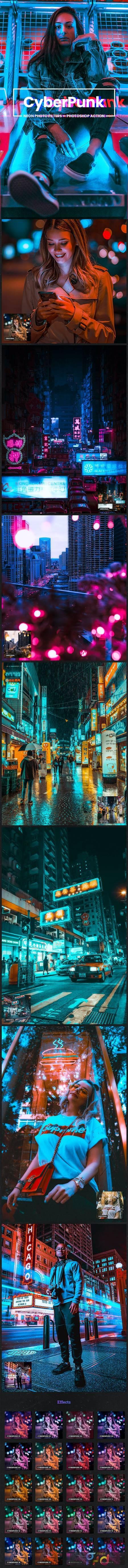 CyberPunk Neon Photo Filters Photoshop Action 26775858 1