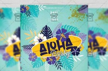 Aloha Party Flyer - Seasonal A5 Template 19924 6
