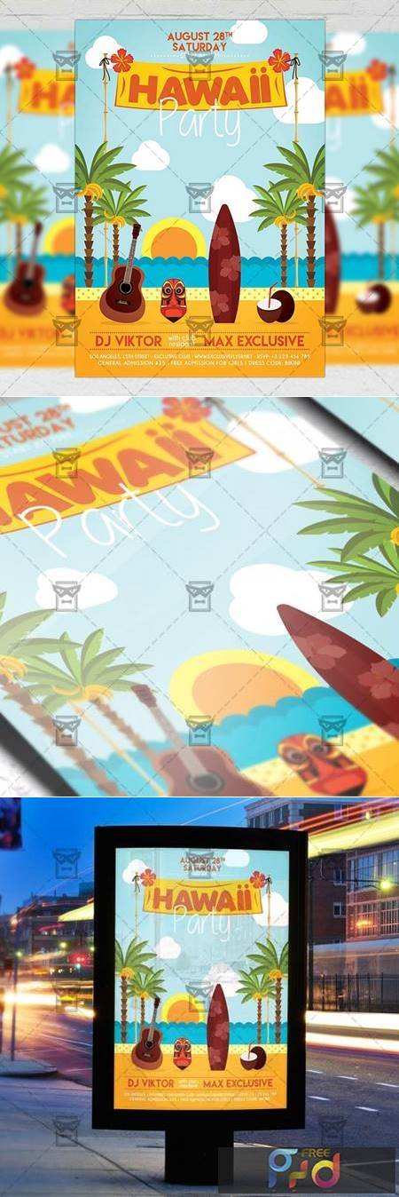 Hawaii Night Flyer - Seasonal A5 Template 19928 1