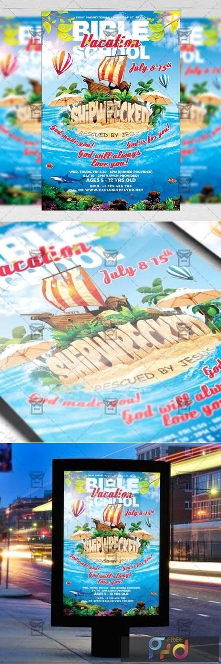Vacation Bible School - Church A5 Flyer Template 19853 1