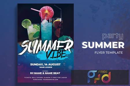 Summer Vibes Party Flyer Template NY8DBUQ 1