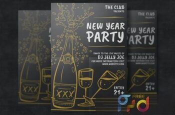 Hand-Drawn New Year Party Template 2FLFBM 3