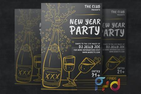 Hand-Drawn New Year Party Template 2FLFBM 1