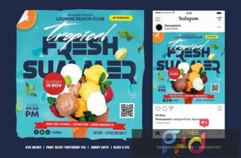 Summer Party Square Flyer & Instagram Post F2ENRN3 3