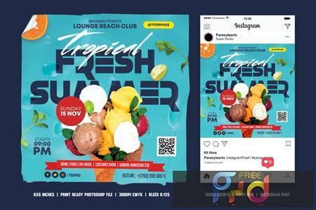 Summer Party Square Flyer & Instagram Post F2ENRN3 1