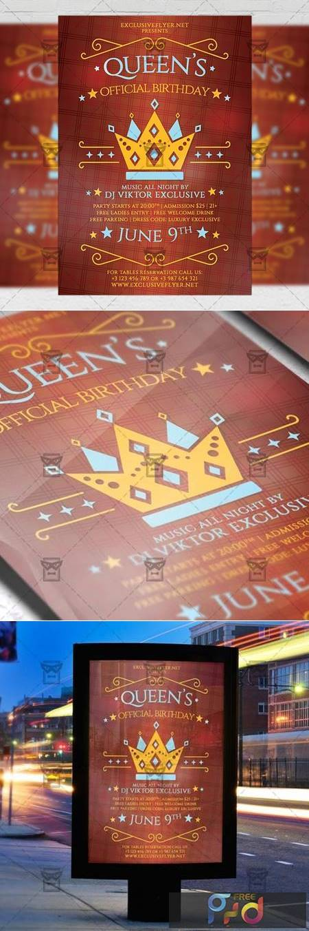 Queens Official Birthday Flyer - Community A5 Template 19406 1
