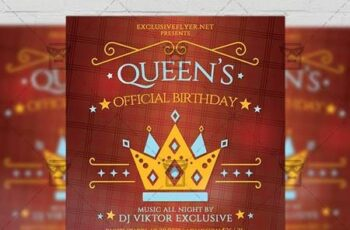 Queens Official Birthday Flyer - Community A5 Template 19406 3