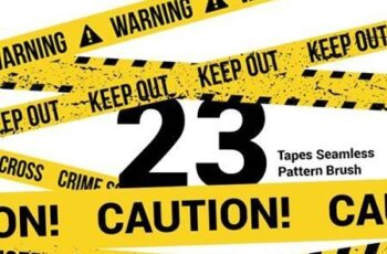23 CAUTION TAPES Seamless Pattern Brush 27771011 8