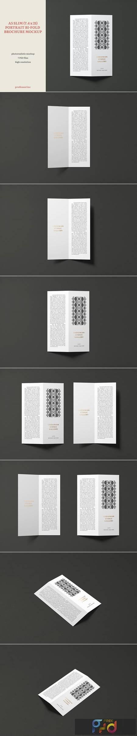 A5 Slim Portrait Bi-Fold Brochure Mockup GDH9EKM 1