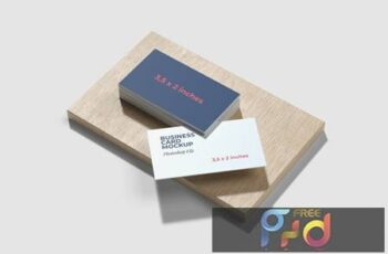 Business Card Mockup on the wood base LWJKNRU 4