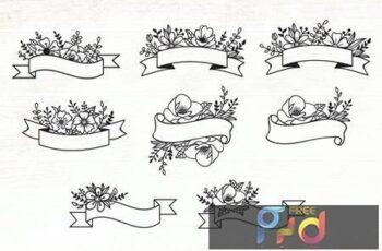 Floral Ribbon Banner Design Elements 23Y7DPN 6