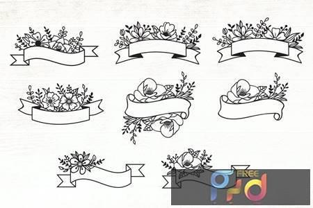 Floral Ribbon Banner Design Elements 23Y7DPN 1
