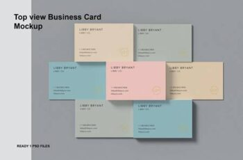 Top view Combined Business Card Mockup 36ZZXQX 6