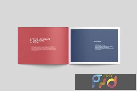 Opened Landscape A4 Brochure Mockup Top View 3VF7BNS 1