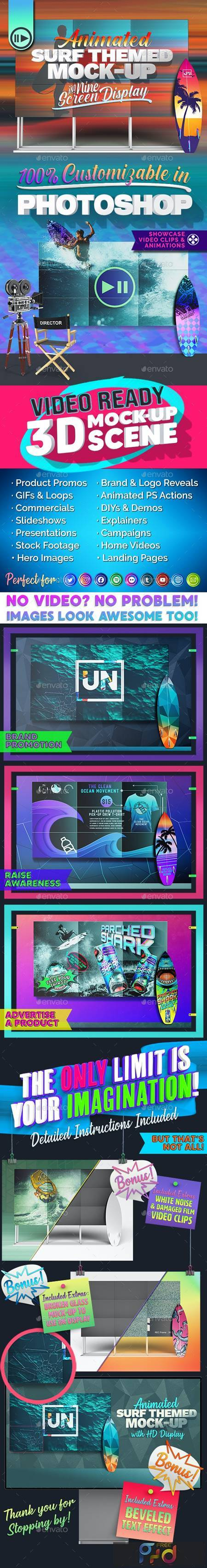 3D Animated Surfboard and HD Display Mock-Up Scene Template 27056336 1