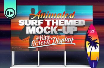 3D Animated Surfboard and HD Display Mock-Up Scene Template 27056336 7