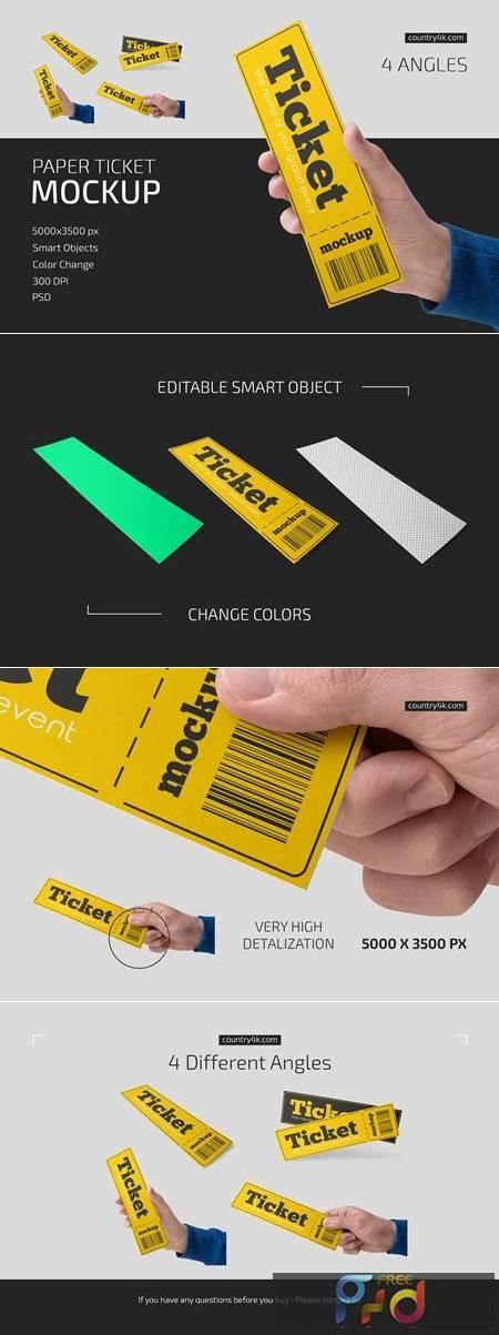 Paper Ticket Mockup Set 5232782 1