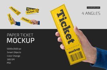 Paper Ticket Mockup Set 5232782 6