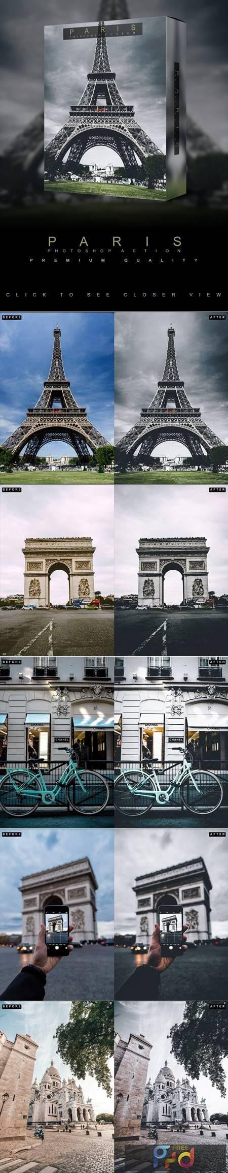 Famous Citys - PARIS - Photoshop Action 26739294 1
