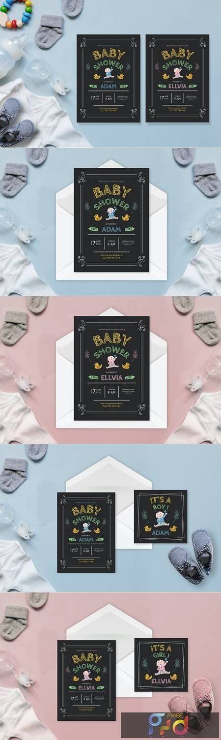 Simple Chalkboard Drawing - Baby Shower Invitation WWQVY7M 1
